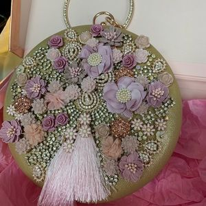 Handbags - Gold evening clutch round shape with pink flowers